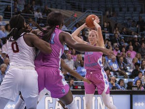 Senior guard Taylor Koenen (1) catches the ball and waits for an opportunity to pass the it in a game against Virginia Tech at the Carmichael Arena on Sunday, Feb. 9, 2020. Koenen scored a total of 19 points. UNC lost to Virginia Tech 72-63.