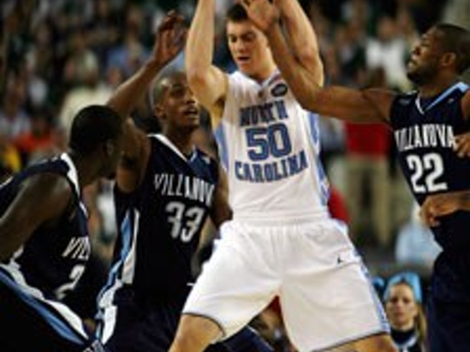 Tyler Hansbrough and the Tar Heels got off to a hot start in the first half Saturday against Villanova. The senior?s 18 points and 11 rebounds in the game led North Carolina in the post and put UNC in the national title matchup.