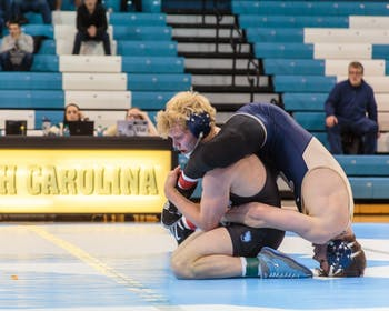 UNC's Clay Lautt lost the 165-pound bout against Pitt on Jan. 26 in Carmichael Arena.