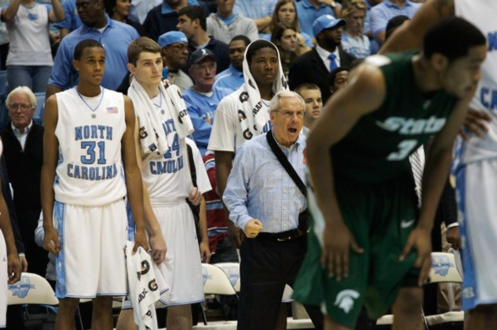 Coach Roy Williams threw a variety of lineups at Michigan State, including one with four freshmen. DTH/Andrew Dye