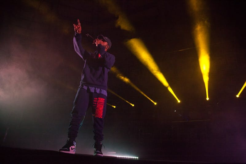 6lack performs his set in Carmichael Arena on Saturday, Apr. 13, 2019 as part of Jubilee 2019 organized by the Carolina Union Activities Board.