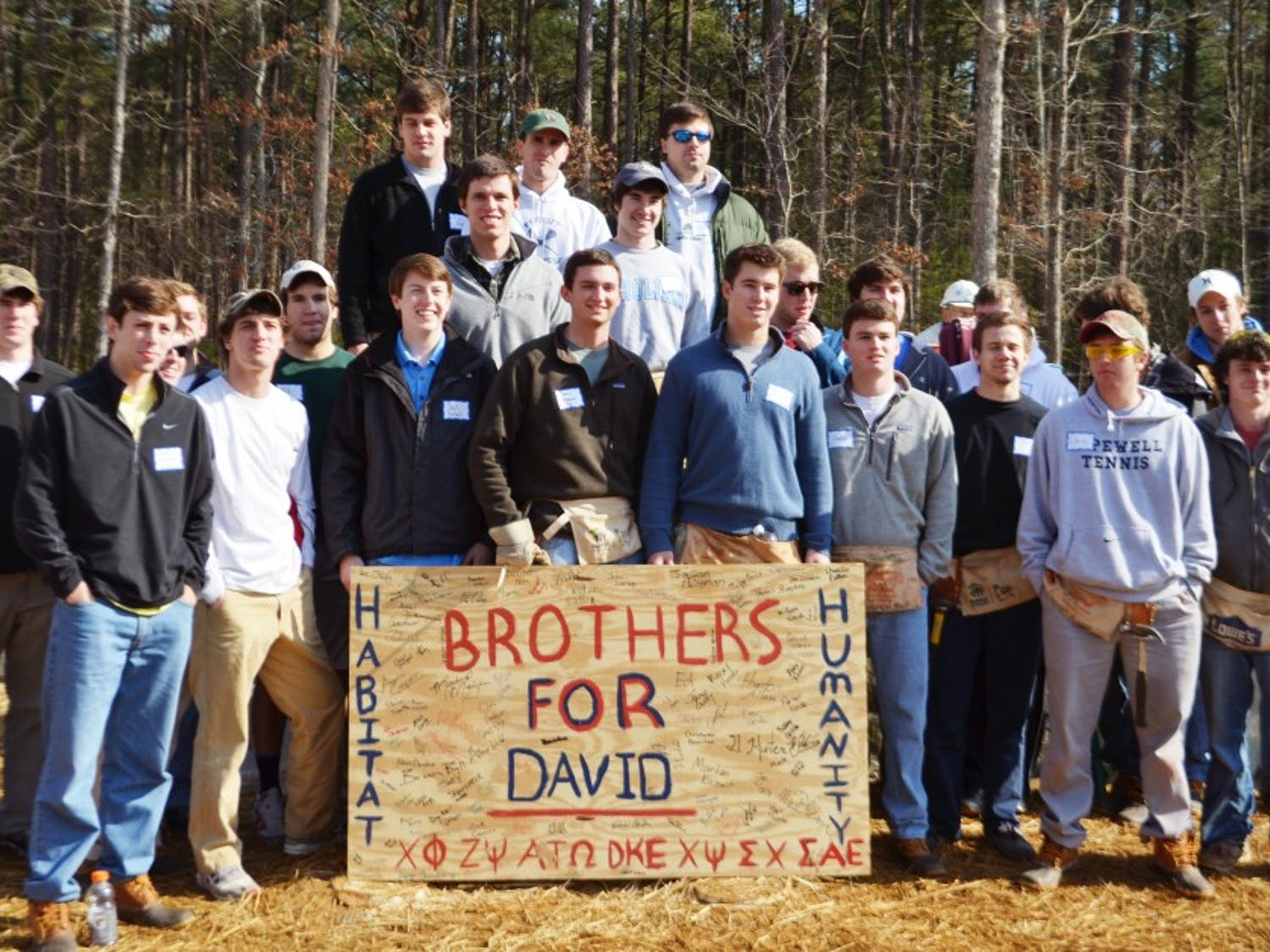 Brothers for David, a partnership of several UNC fraternities, work together with Habitat for Humanity to build a house in honor of David Shannon. The house will home a lower-income CH family whose parents work as custodians on UNC