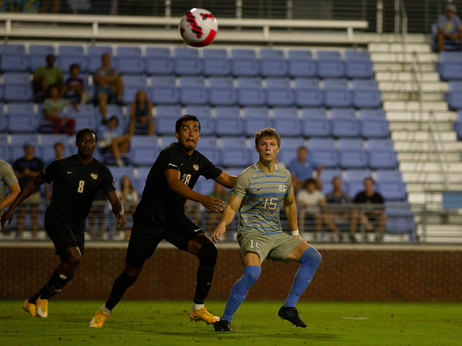 UNC sophomore defender Riley Thomas (15) eyes the ball at the soccer game against Virginia Commonwealth on Aug. 29 in Chapel Hill. UNC tied 1-1.