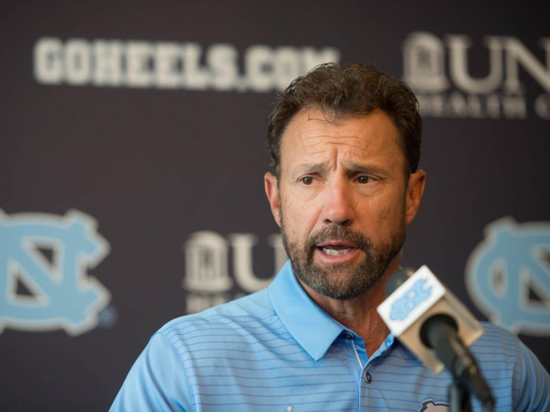 North Carolina football head coach Larry Fedora speaks at the team's media day in Kenan Stadium on Monday, Aug. 7.