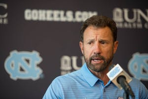 North Carolina football head coach Larry Fedora speaks at the team's media day in Kenan Stadium on Monday, Aug. 7.