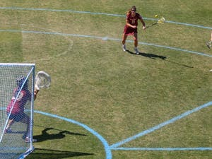 Junior attacker Katie Hoeg (8) makes a shot on goal against Boston College at the UNC Lacrosse Stadium on Saturday, March 23, 2019. Boston College defeated UNC 14-8.