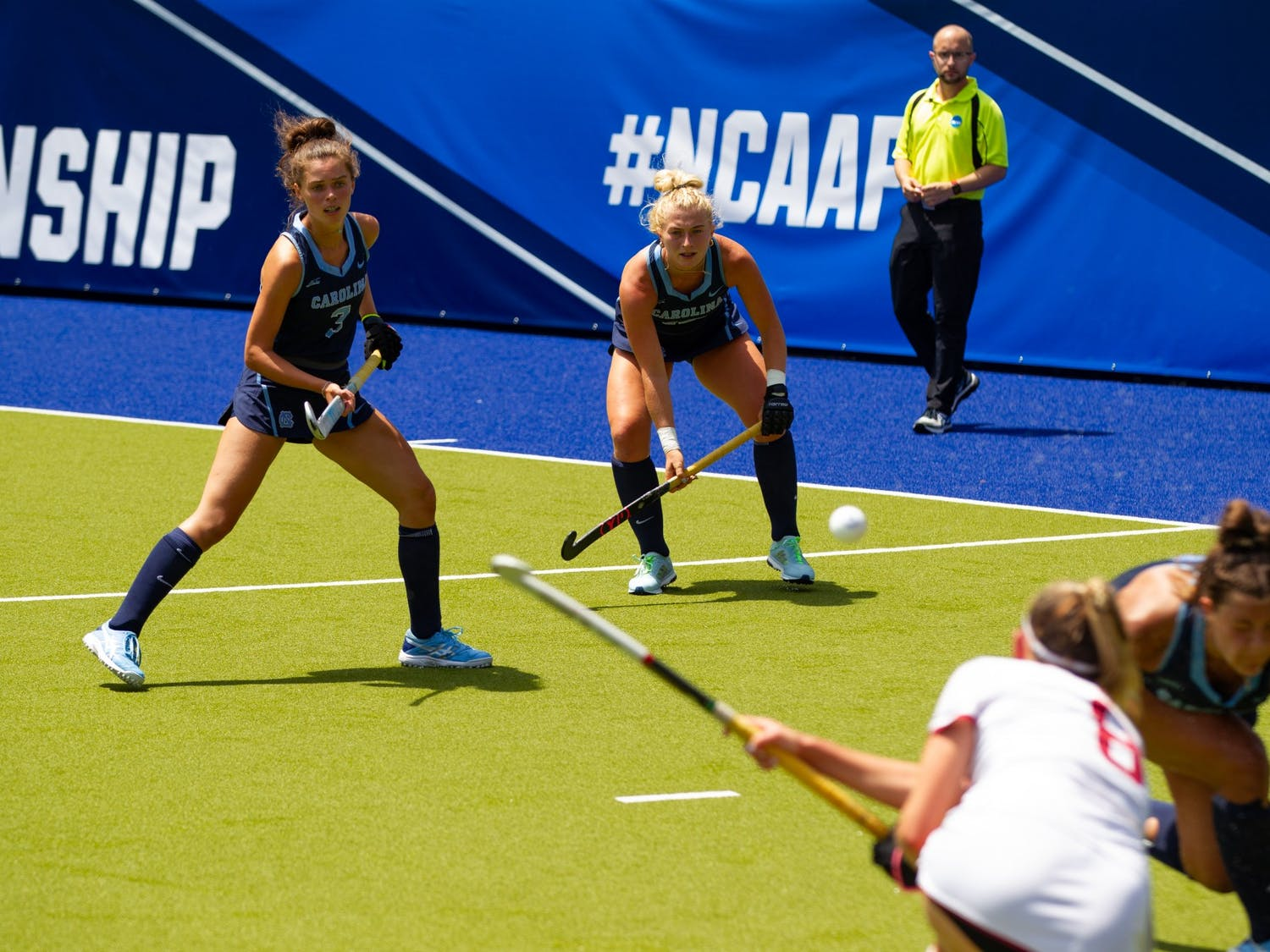 UNC redshirt Junior back Cassie Sumfest and Junior forward Hannah Griggs prepare to defend against a flick made by Stanford. No. 1 seed Carolina FIeld Hockey defeated the Cardinals in a 2-0 victory, advancing them to the next round of the NCAA D1 Field Hockey Championships.