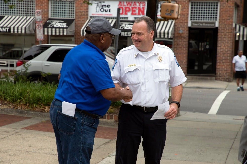<p>Chapel Hill Fire Chief Matt Sullivan interacts with the community. He is set to retire in January. Photo courtesy of the Town of Chapel Hill.</p>