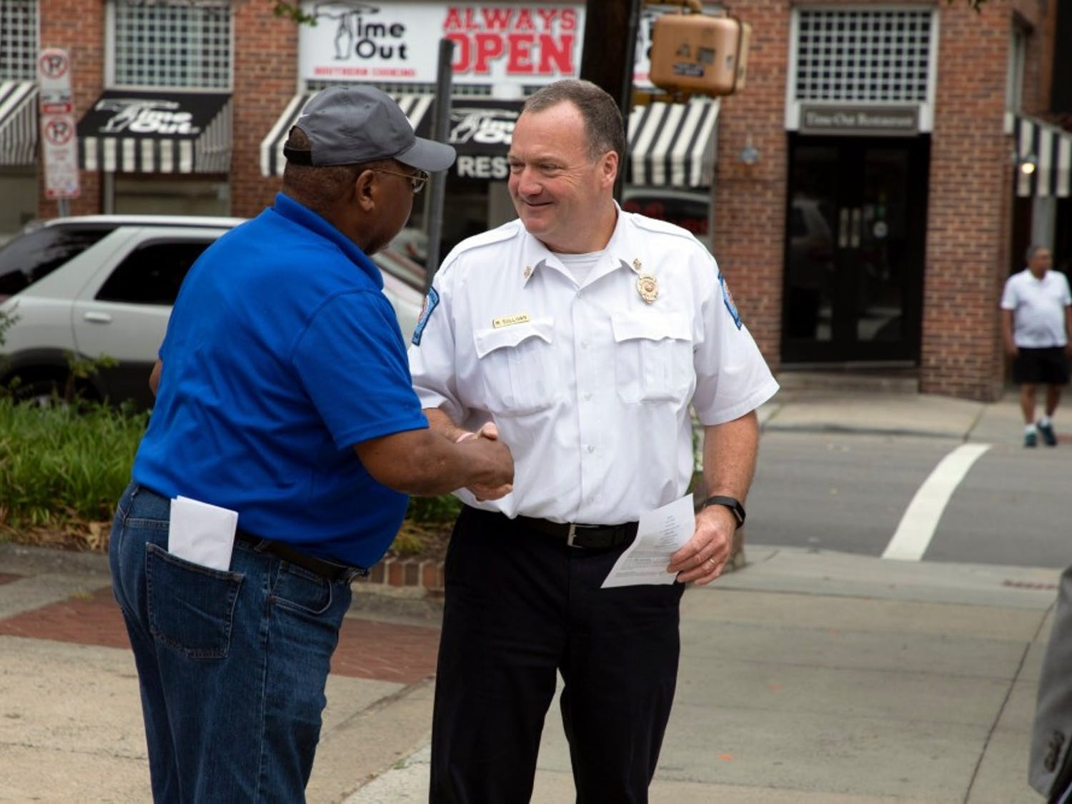 Chapel Hill Fire Chief Matt Sullivan interacts with the community. He is set to retire in January. Photo courtesy of the Town of Chapel Hill.