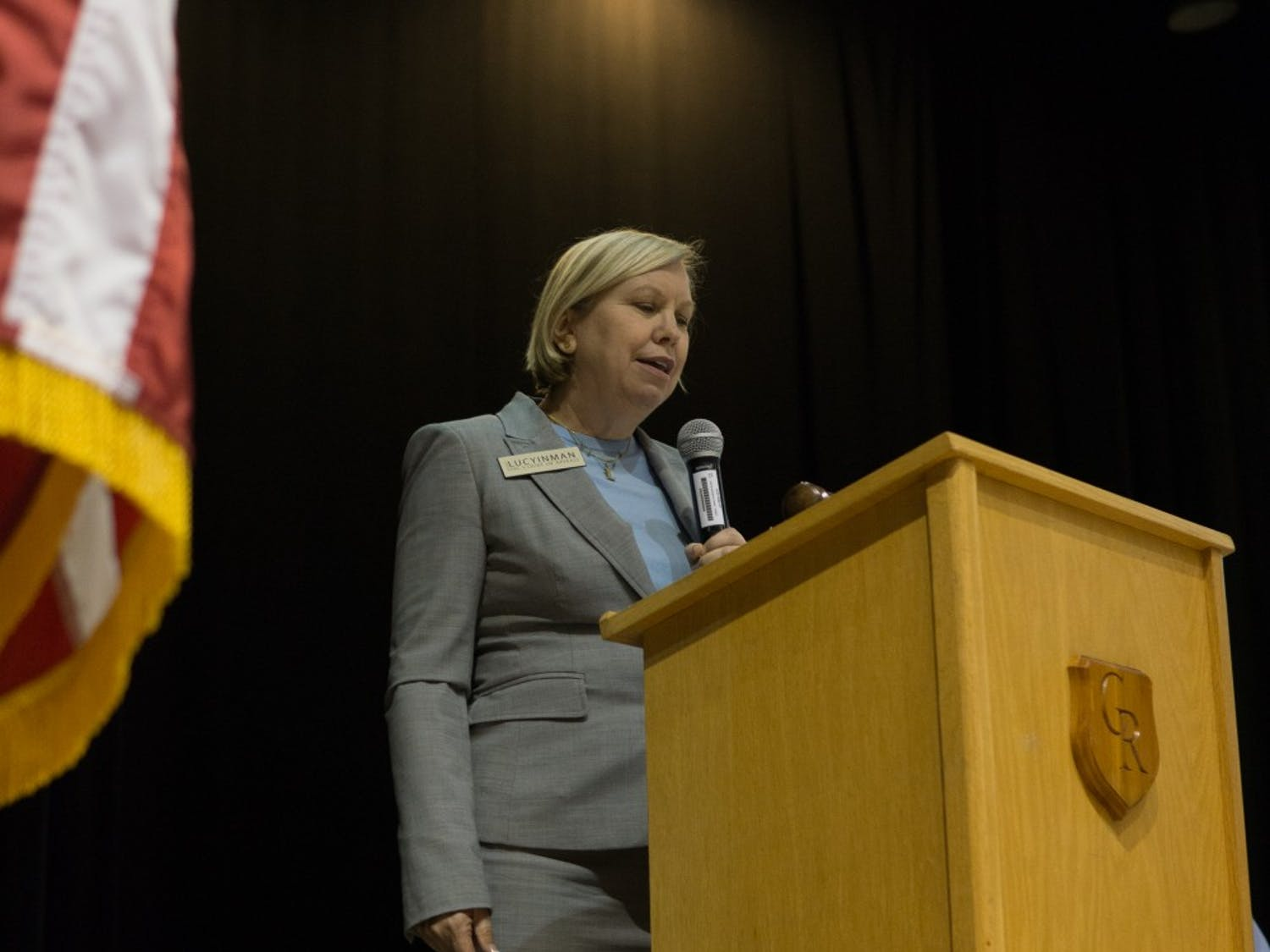"""2020 Candidate for NC Supreme Court, Lucy Inman, gave the keynote speech at the Orange County Democratic Convention Saturday, March 30, 2019 at Cedar Ridge High School.  """"They even changed the ballots to favor Republicans. This was not at the request of any judge I know.  This was a legislative agenda,"""" said Inman when speaking on election tampering."""