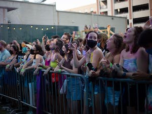 The crowd at the Glass Animals concert in Carrboro, NC on Aug. 28 cheers.