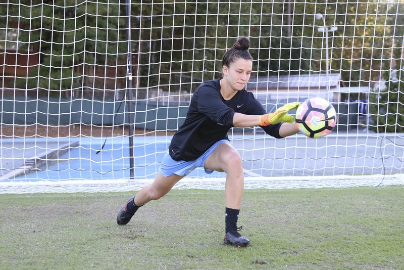UNC Goal Keeper Lindsay Harris poses for a photo at Fetzer Field on Monday.