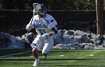The UNC men's lacrosse team defeated Manhattan 21-5 at Navy Field on Sunday. The game was postponed and moved to the turf field due to snow at the end of last week.