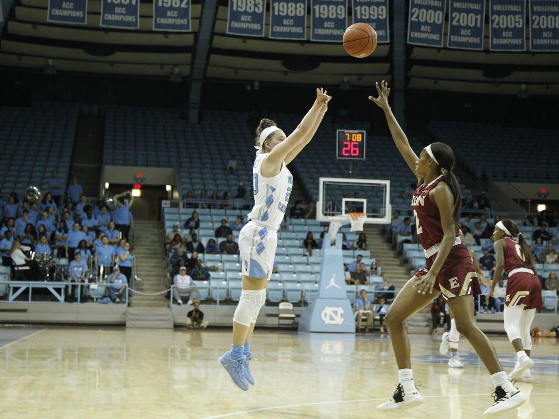 UNC junior guard Leah Church (20) shoots over Elon sophomore guard Kayla Liles (2). The Tar Heels beat the Elon Phoenix 76-46 in Chapel Hill, N.C. on Nov. 22, 2019.