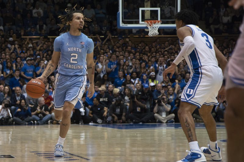 UNC first-year guard Cole Anthony (2) dribbles upcourt in the game against Duke in Cameron Indoor Stadium on Saturday, March 7, 2020. UNC lost to Duke 89-76.