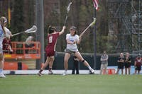 Junior Midfielder Ela Hazar carries the ball up the field in the game against Boston College on Saturday.
