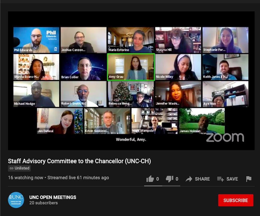 <p>Members of UNC's staff advisory committee meet over Zoom on Wednesday, Dec. 9, 2020.</p>