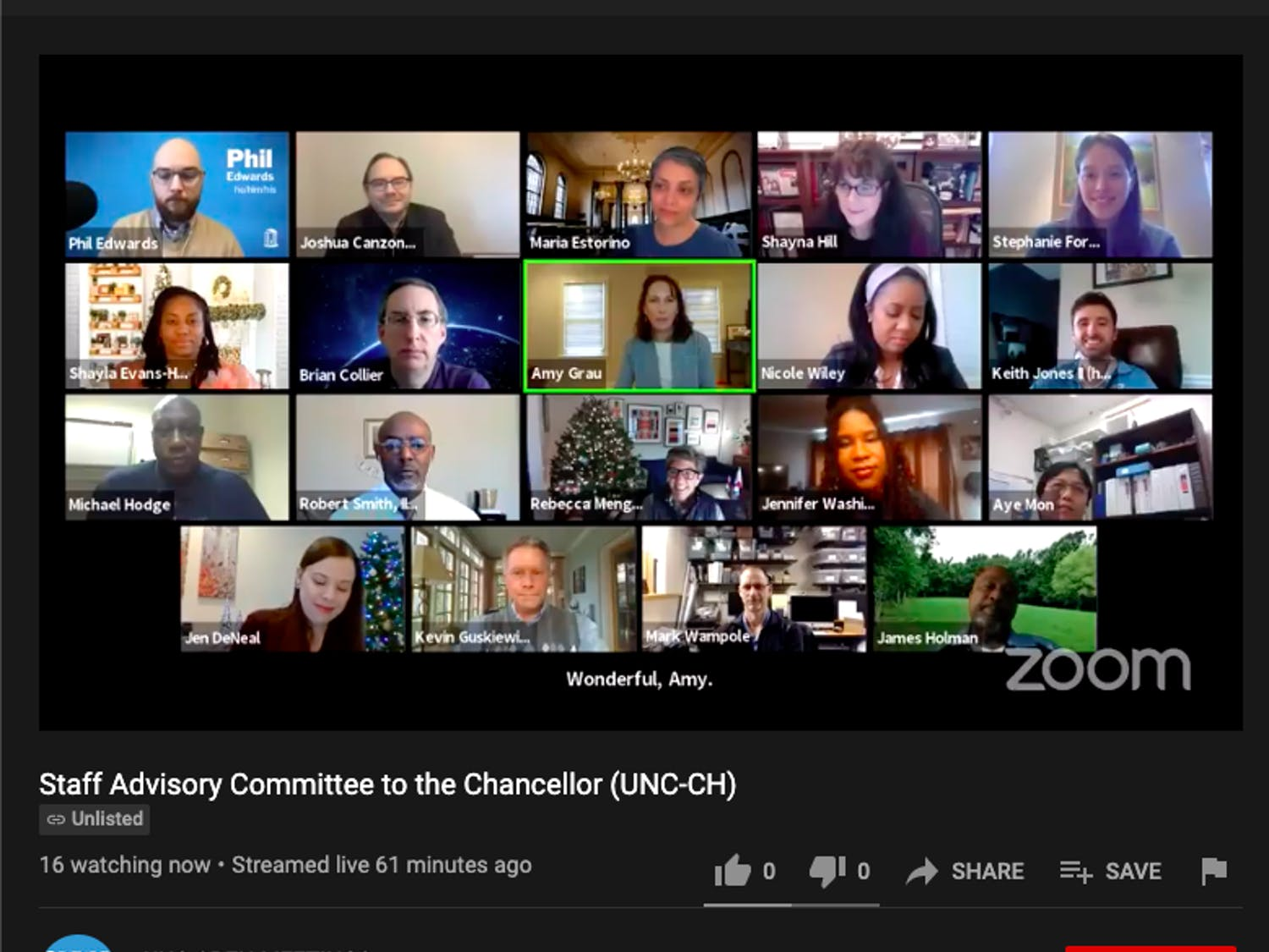 Members of UNC's staff advisory committee meet over Zoom on Wednesday, Dec. 9, 2020.