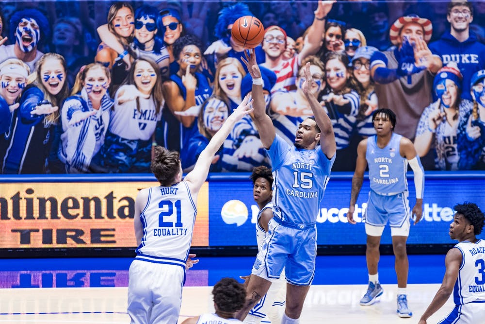 Duke Men's Basketball takes on the University of North Carolina Tar Heels in the first half at the Cameron Indoor Stadium on February  6, 2021 at Durham, North Carolina. Photo courtesy of Natalie Ledonne.