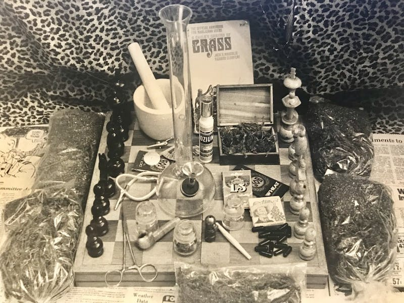 Marijuana and paraphernalia at a UNC student's house in 1977. DTH File/Allen Jernigan