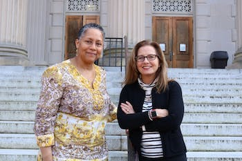Gloria Thomas (left), partner and Director of the Carolina Women's Center, and Erin Malloy (right), lead principal investigator of the National Science Foundation grant pose in front of Wilson Library on Tuesday, Jan. 8, 2019. The grant is aimed to encourage women and women of color to succeed in STEM fields.