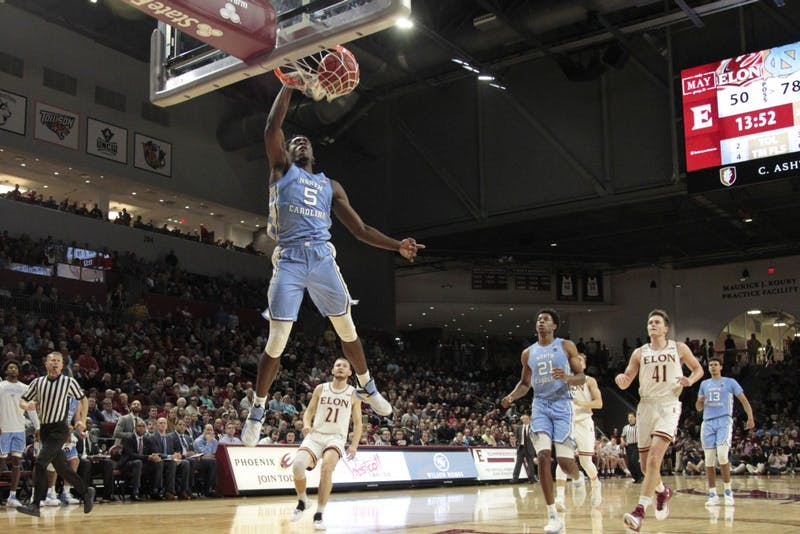 UNC first-year forward Nassir Little (5) scores after a breakaway at Elon. UNC beat the Phoenix, 116-67, at the Schar Center in Elon, N.C.