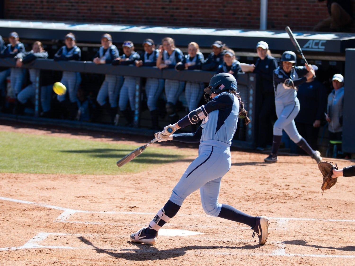 Sophomore first baseman Kiersten Licea (1) hits a home run during the game against Pittsburgh at G. Anderson Softball Stadium on March 1, 2020. UNC won 1-9.
