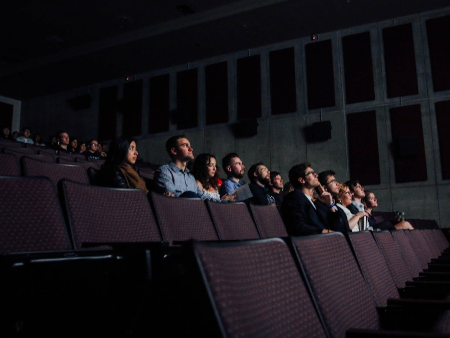 An audience watching the 2018 Duke Film Festival. The festival has been going for five years straight, and gives the scattered filmmaking community at Duke a time to come together. Photo courtesy of Quinten Sansosti