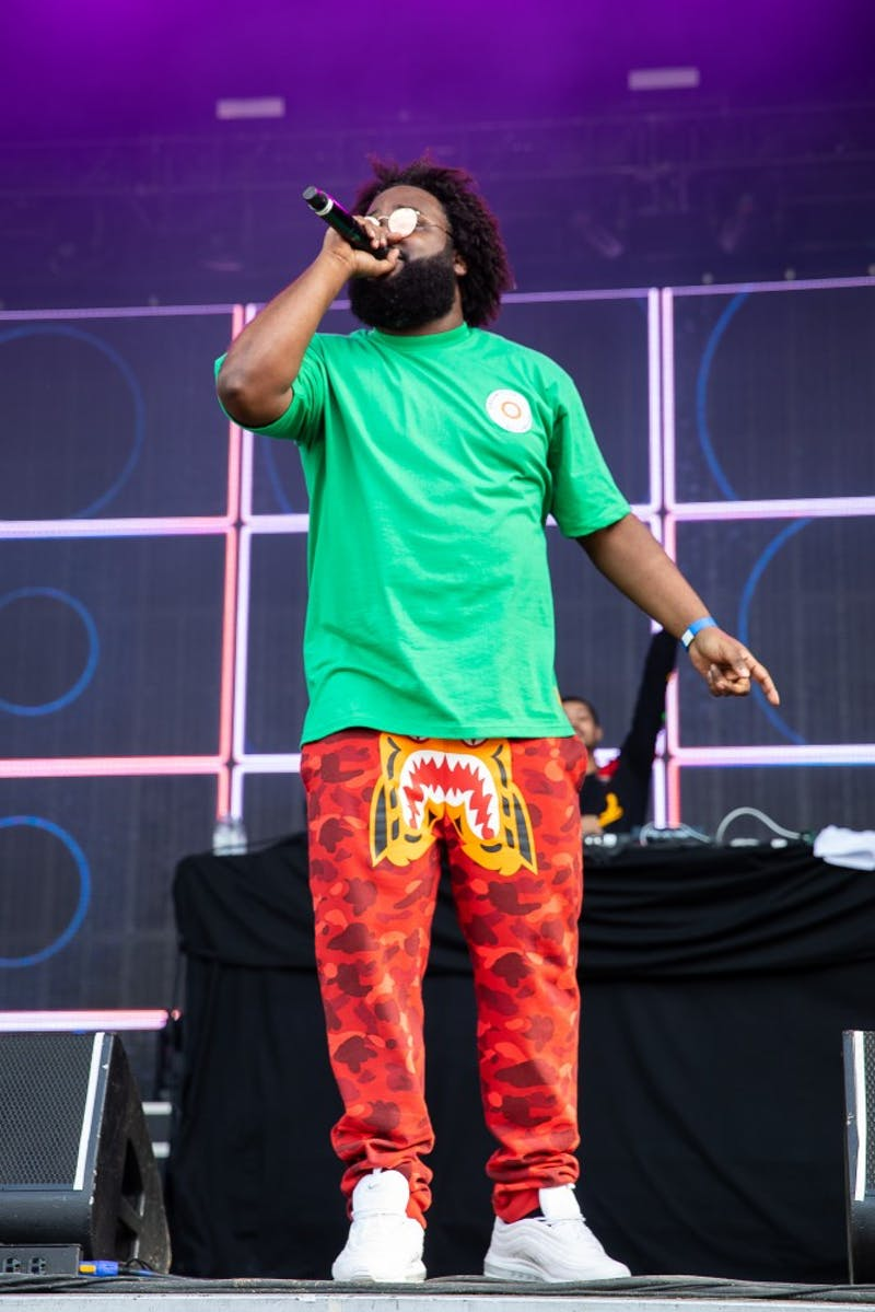 Bas performs his set at the inaugural Dreamville Fest at Dorothea Dix Park on Saturday, April 6, 2019 in Raleigh, N.C. In its inaugural event, 40,000 people attended Dreamville after it was postponed in the fall of 2018 because of Hurricane Florence.
