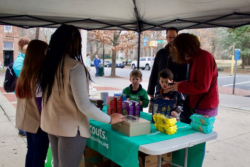 Girl Scouts selling cookies in front of the United States Post Office on Franklin Street on Saturday, Jan. 19, 2019. They said this location is a great spot that many Girl Scouts prefer to sell cookies at since they are able to make a lot more sells.