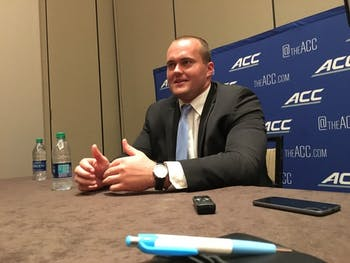 North Carolina senior left tackle Bentley Spain talks to the media at ACC Football Kickoff on Friday.