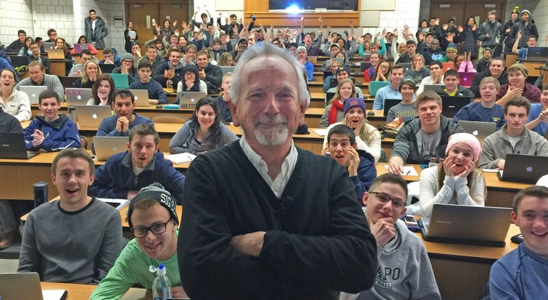 Perry Samson, a professor of atmospheric sciences at the University of Michigan and the founder of LectureTools, now known as Echo360, stands in front of one of his lecture classes. Photo courtesy of Perry Samson.
