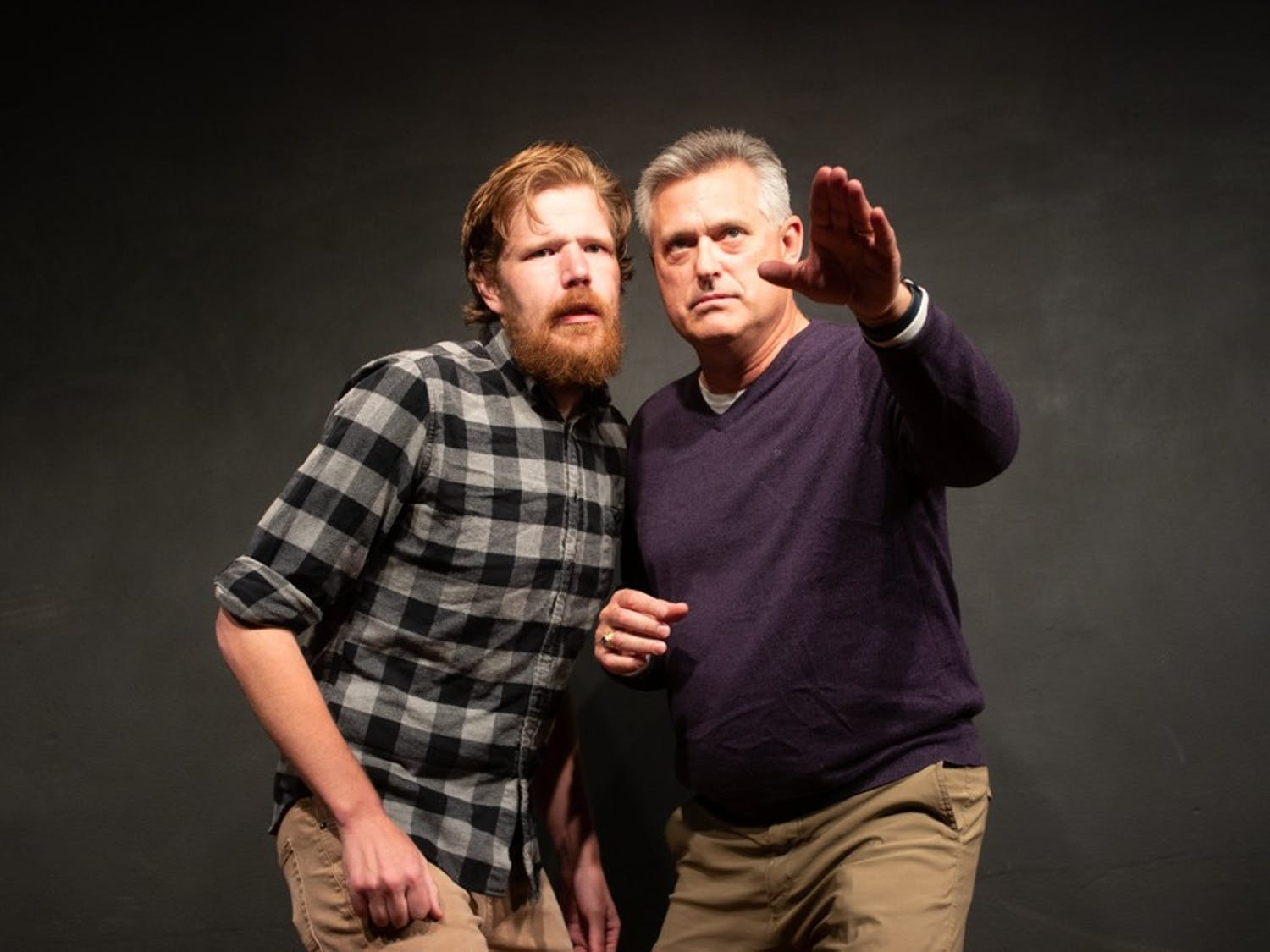 James Mcmahon and Brad Taylor of the improv team, Brad's Basement, perform sketch comedy during Trifecta Improv at The PIT Chapel Hill comedy club on Saturday, Nov. 30, 2019.
