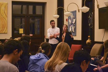 Noah Ponton (left) and Monique Laborde, Campus Y co-president candidates, participate in a forum on Wednesday night.
