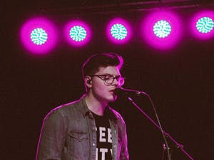 Kevin Garrett playing piano during his sold out show at Cat's Cradle.