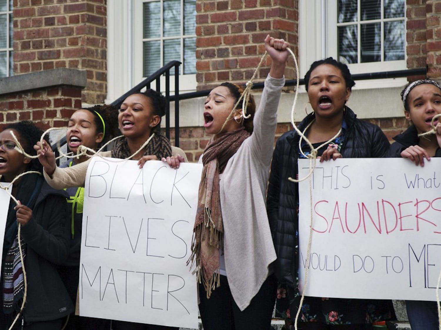 Students gather outside of Saunders Hall on Monday February 2, 2015 from 11 a.m. to 2 p.m. demanding the name be changed to Hurston Hall, honoring the late Zora Neale Hurston.