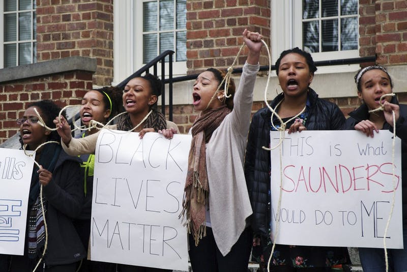Students gather outside of Saunders Hall on Monday February 2, 2015from 11 a.m. to 2 p.m. demanding the name be changed to Hurston Hall, honoring the late Zora Neale Hurston.