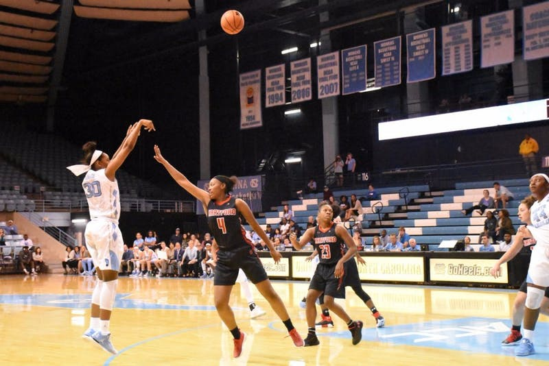 Forward Jaelynn Murray (30) takes a 3-pointer against Hartford on Dec. 1 in Carmichael Arena.