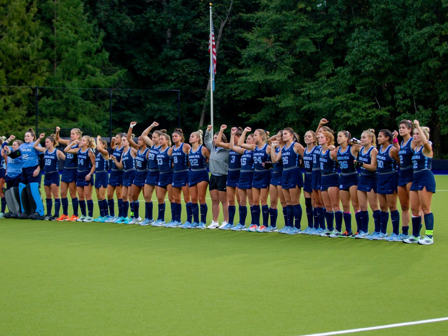 The UNC field hockey team sings their alma mater after losing 2-3 to Louisville in overtime on Oct. 22 at the Karen Shelton Stadium.