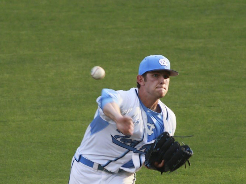 North Carolina Freshman Jason Morgan (27) pitches during Tuesday night's game against Coastal Carolina.