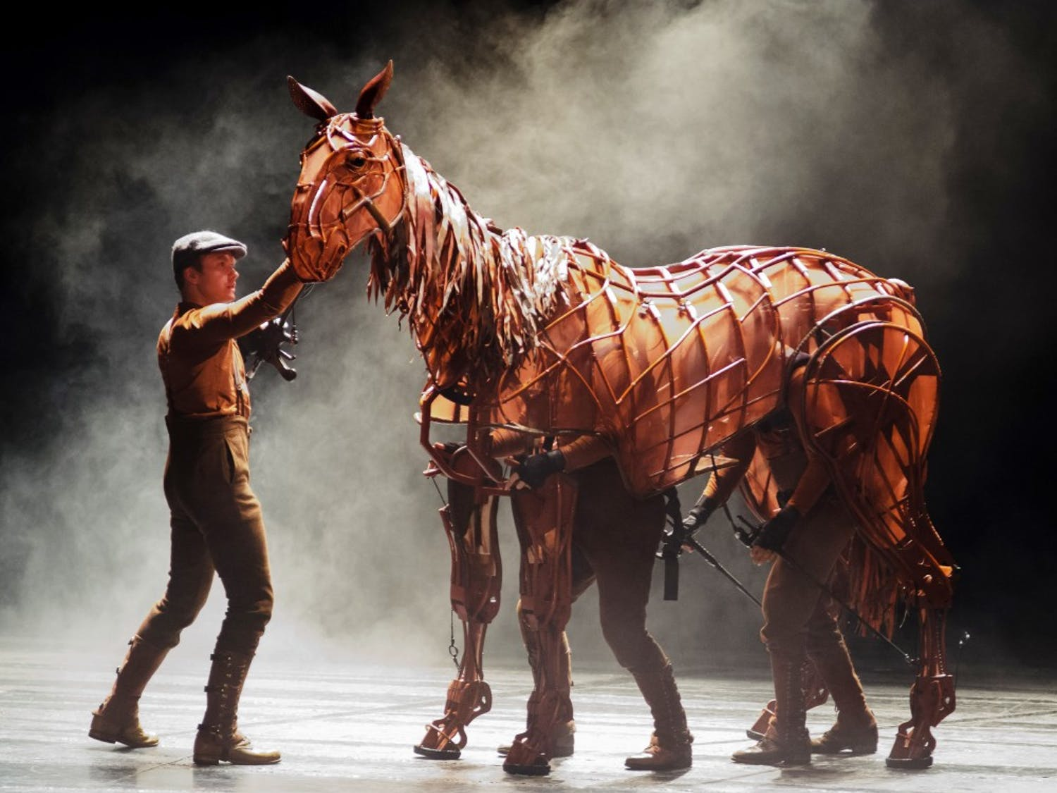 """Cast members perform during the opening night of the musical """"War Horse"""" at the Durham Performing Arts Center in Downtown Durham, NC on Tuesday, October 2nd 2012. The National Theatre of Great Britain produces the show that will run until October 7th."""