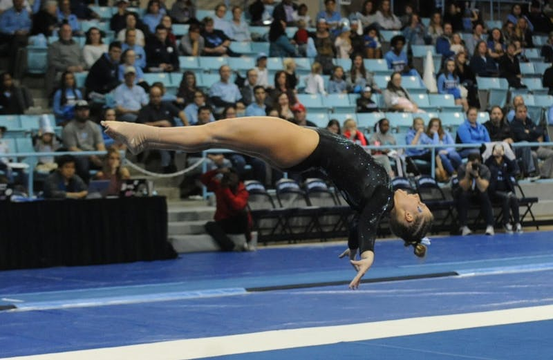 Senior Madison Hargrave competes on the floor in a meet against New Hampshire University in Carmichael Arena on Friday, Feb. 23, 2019.