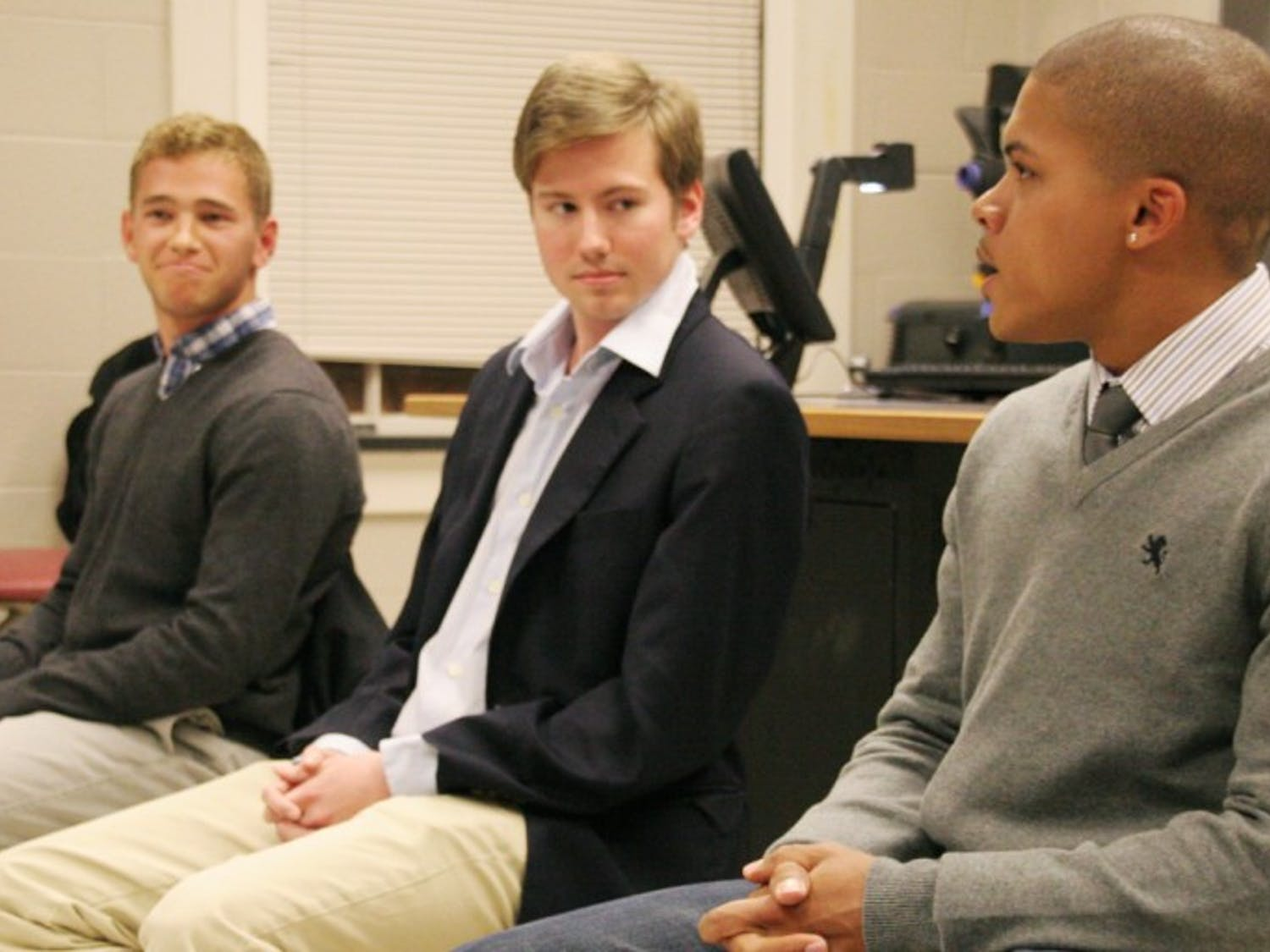 Will Leimenstoll-dark gray sweaterTim Longest-blue suitCalvin Lewis-light gray sweaterCollege Republican's Student Body President Debate, 6pm Feb. 6th in 307 Dey Hall (small classroom)Young Democrats Student Body President Forum, 7pm Feb. 6 in Manning 209 (large lecture hall)Students asking questionsAmy Hazle Wurst-exchange student from University of Sheffield (England), sophomore majoring in Politics and International Studies, asked about where candidates would look for investment opportunities Travis Crayton, junior Political Science/Public Policy double major, asked about the Town Council ordinance on North Side and about students living in North Side