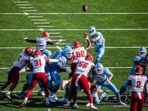 UNC graduate student Grayson Atkins (17) makes a kick in Kenan Stadium Oct. 24, 2020. The Tar Heels beat the Wolfpack 48-21.