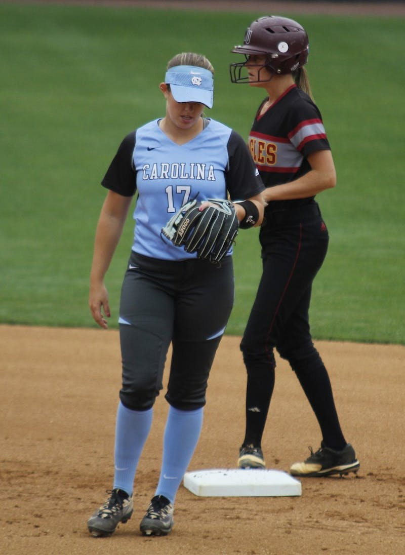 North Carolina second baseman Katelyn Shifflett (17) walks away from second base during the team's 8-7 loss to Winthrop on Wednesday.