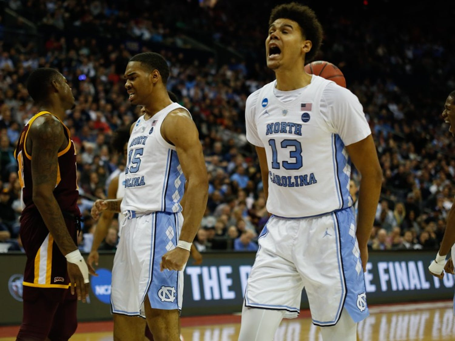 Senior guard Cameron Johnson (13) was the leading scorer with 21 points on March 22, 2019 during the first round of the NCAA Championship against Iona at Nationwide Arena in Columbus, Ohio.