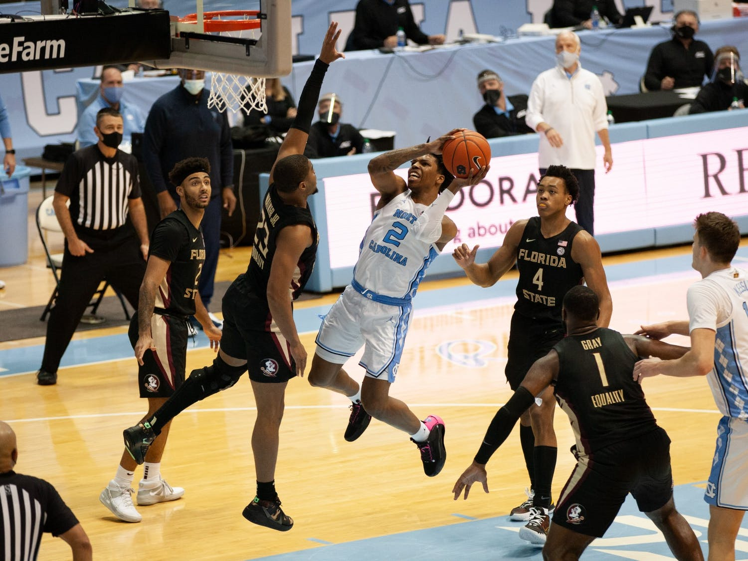 UNC first-year guard Caleb Love (2) goes up for a layup in Carolina's 78-70 victory over Florida State in the Smith Center, Feb. 27, 2021.