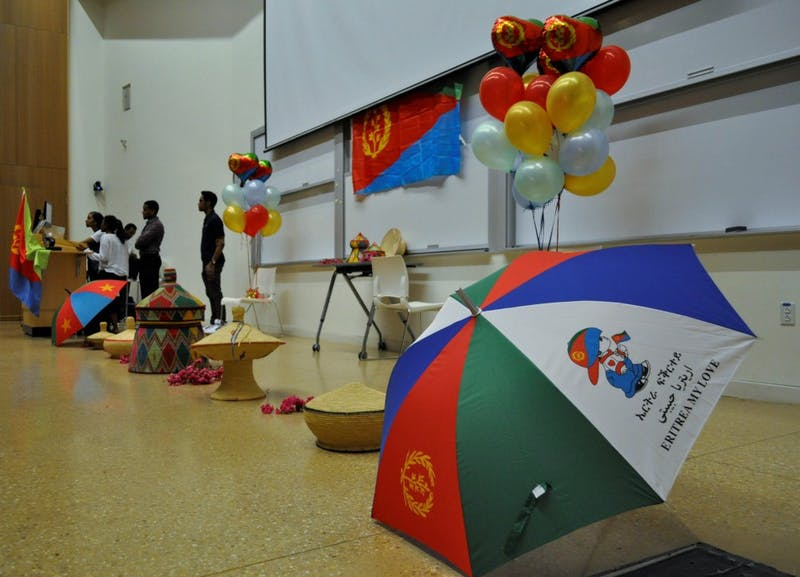 A set up of ceremonial items at an Eritrean Fashion Show sponsored by Campus Y and the GPSF on Wednesday, April 24, 2019 at the Genome Sciences Building.