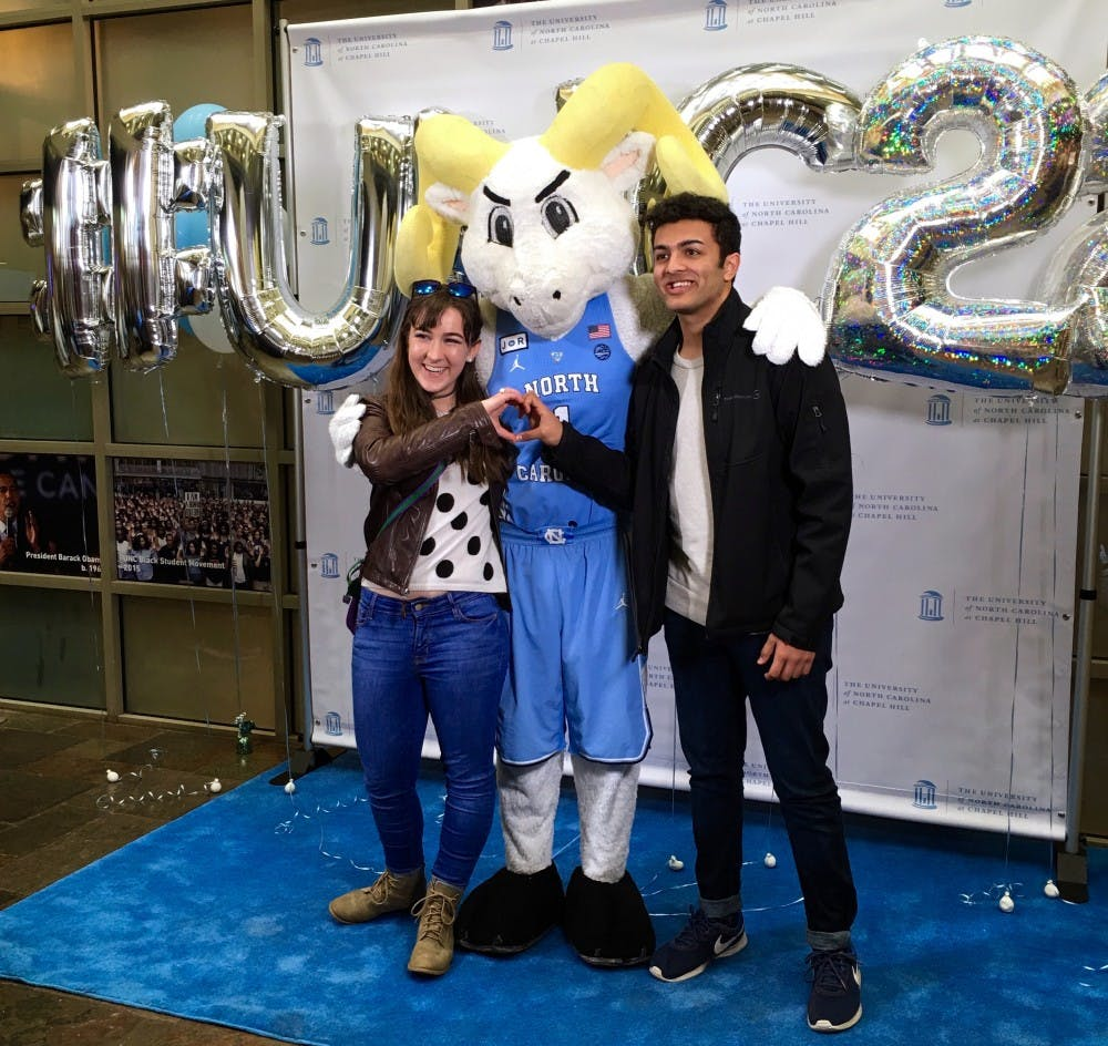 <p>Lauren Kane (pictured left) and Sheel Patel (pictured right) at a UNC Class of 2022 event. (Photo courtesy of Sheel Patel)</p>