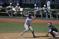 Outfielder Dylan Harris (3) at bat for the Blue team during the second game of the 2018 Fall World Series intrasquad scrimmages. Team Navy defeats Team Blue 6-2 at Boshamer Stadium on Saturday Oct. 13.